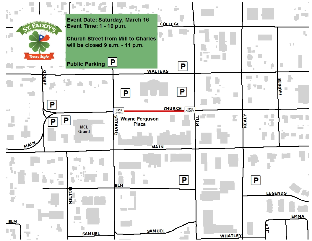 St Paddy street closure and parking map