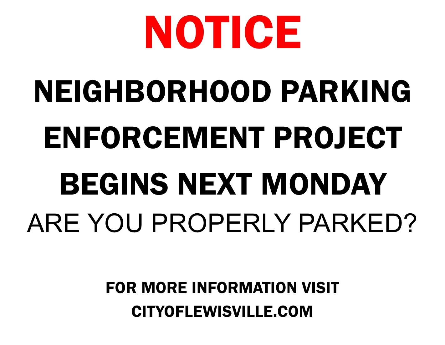 Neighborhood Parking Enforcement Project City Of Lewisville Tx
